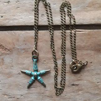 Collier bronze étoile bleu antique
