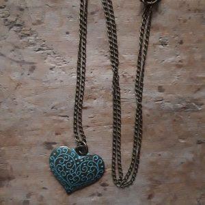 Collier bronze coeur bleu antique