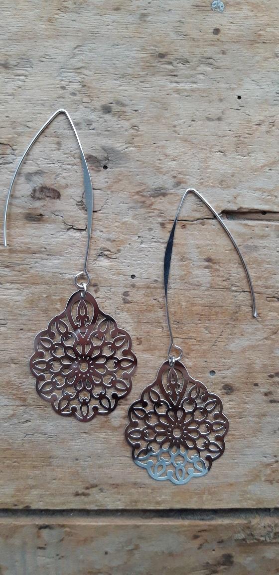 Boucles d'oreilles filigrane argent fleur allongée gds supports