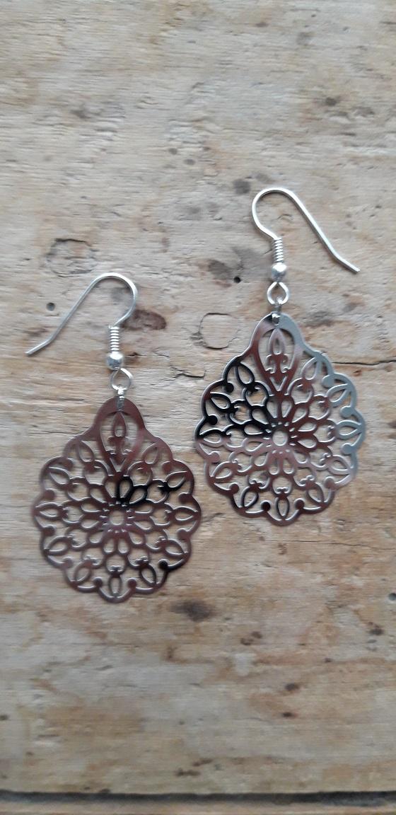 Boucles d'oreilles filigrane argent fleur allongée petits supports