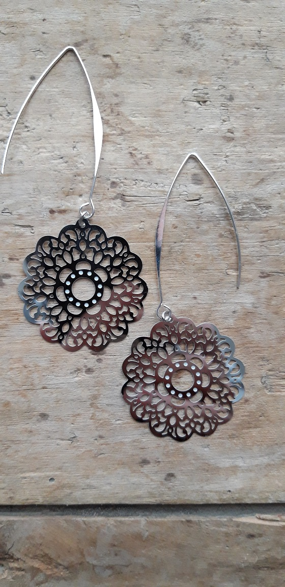 Boucles d'oreilles filigrane argent fleur ronde gds supports