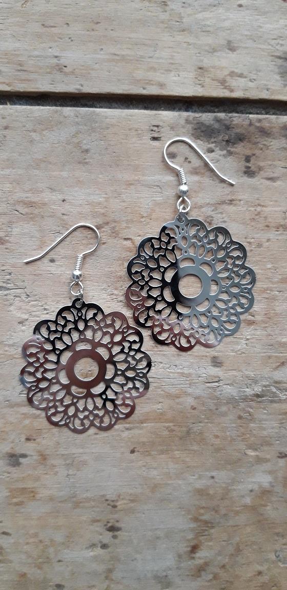 Boucles d'oreilles filigrane argent fleur ronde petits supports
