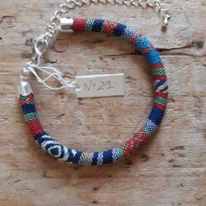 Bracelet cordon ethnique bleu n°21