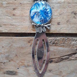 Marque-Page Hibou argent Cabochon feuillage bleu