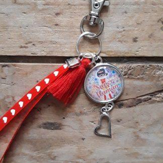 Porte clés Super maman rouge