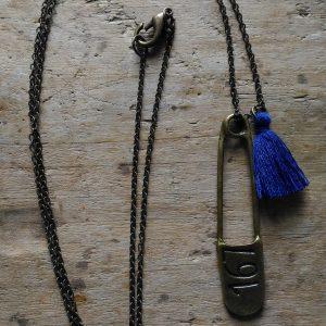 Sautoir Bronze Epingle Pompon Bleu recto