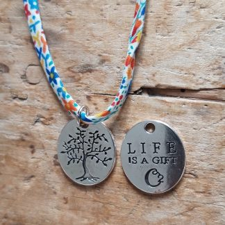 Collier ras du cou Arbre de Vie Life is a gift Liberty Bleu jaune Orange