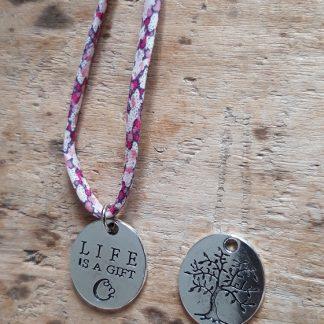 Collier ras du cou Arbre de Vie Life is a gift Liberty Mauve Rose Blanc