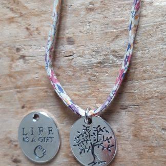 Collier ras du cou Arbre de Vie Life is a gift liberty blanc rose mauve