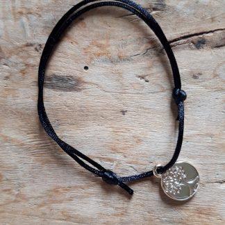 Arbre de vie petite médaille dorée breloque Bracelet Noir