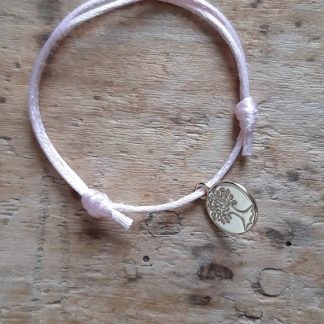 Arbre de vie petite médaille dorée breloque Bracelet Rose clair