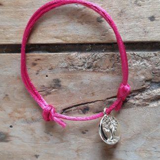 Arbre de vie petite médaille dorée breloque Bracelet Rose vif