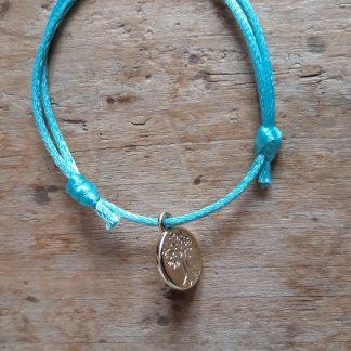 Arbre de vie petite médaille dorée breloque Bracelet bleu-vert