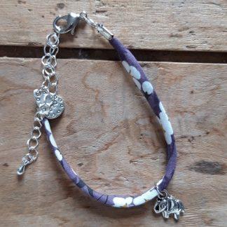 Bracelet Eléphant Liberty mauve et blanc