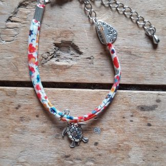 Bracelet Tortue Liberty blanc rouge orange