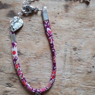 Bracelet Tortue Liberty violet et rose