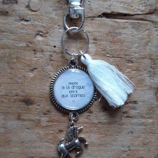 Porte-clés Non a la drogue Oui aux licornes