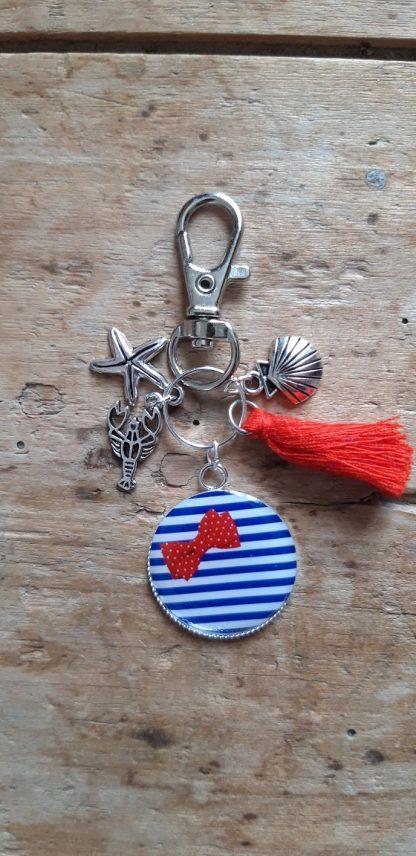 Porte-clés marin Rayure et noeud pap