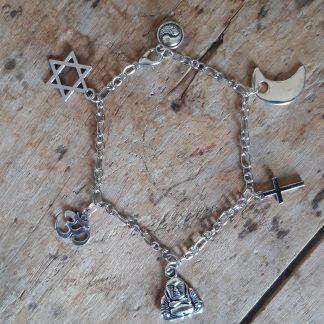 Bracelet multi-religion avec croix, étoile de David, Om, Bouddha, Lune